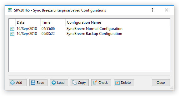 SyncBreeze Enterprise Saved Configurations