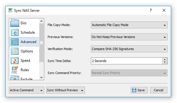 Advanced File Synchronization Options