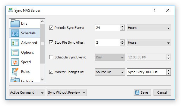 File Synchronization Schedule Options
