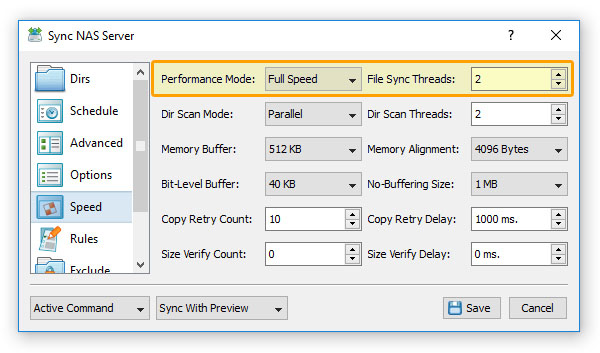 SyncBreeze Parallel File Synchronization Threads