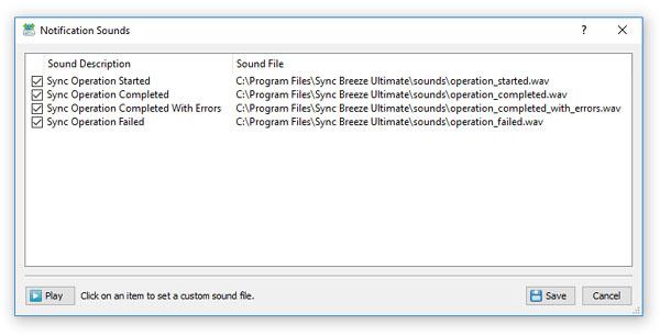 SyncBreeze - File Synchronization - Sound Notifications